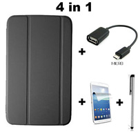 For samsung galaxy tab3 T310 T311 8inch,New fashion PU leather flip stand cover case + OTG + Stylus + Screen protector