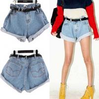 New 2014 Summer BF high waist jeans women shorts vintage roll-up hem denim shorts casual all-match plus size shorts+Belt T12-20