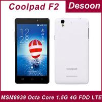 Original Coolpad F2 phone Coolpad 8675-W00 Octa core 1.5GHz MSM8939 Android 4.4 2G RAM 16G ROM 5.5 Inch 13.0MP 1280*720 2500mAh