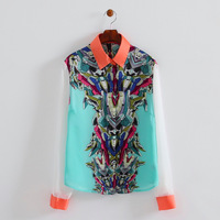 Woman fashion poplin contrast color robots prints turn-down collar blouse button closure regular shirts 314431