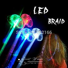Freeshipping venda quente 24 pcs / lot colorido brilhante LED Braid , Novidade Decoração para festa de férias, extensão do cabelo da fibra óptica(China (Mainland))