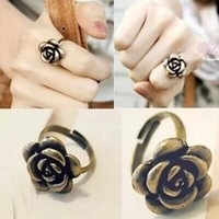 fashion vintage retro bronze simple alloy rose shape adjustable finger rings
