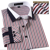 New Business casual striped men shirts slim fit fitness plus size male shirt men's clothing patchwork long sleeve shirts for men