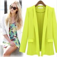 2014 Hot Offical Women Coat Long Sleeve Women's Blazer Slim Suit Coat Dropshipping