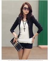 2014 Hot Fashion Plus Size Coats Womens Short Jackets With Rivet for Lady's Blazer Cardigan Cheap Black & White Coat Tops