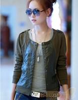 Hot 2014 Europe Brand Fashion Women Slim Patchwork Newest Lowest Price Women Coat Slim Short  Jacket