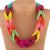 Braided Beads Bohemian Handmade Necklace 2014 Summer Fashion Jewelry Order More Than 150USD DHL Free Shipping