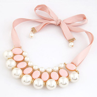 2014 Free Shipping Fashion Personalized Pearl Metal Short Necklaces & Pendants Sweater Chain Ribbon For Women fashion jewelry