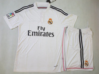 TOP Quality   2014  - 2015  Real Madrid   Home  white  away Black soccer  jerseys    uniforms  kits  training   Free Shipping