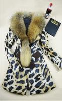 Free shipping women's winter luxury raccoon fur collar sheepskin genuine leather slim medium-long  leopard jacket coat