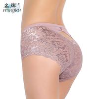 Antibiotic fiber soft transparent lace sexy underwear mid waist plus size panty