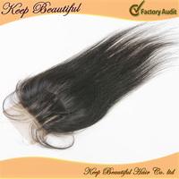 "Rosa Hair Products Cheap Grade 6A Lace Top Closure 4""x4"" 3 way Part Closure Bleached knots 10-20inch Silk Straight Natural Black"