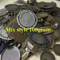 100gram Mix Design~Antique Metal pendant blank Cameo cabochon base setting