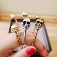 fashion exquisite double head opening skull vintage bangles for women
