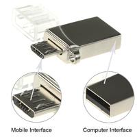 OTG Flash Drive 16GB Metal buckle 8GB USB Memory Card Stick Pen Drives 32GB Micro Data external storage Pendrive Smart Phone