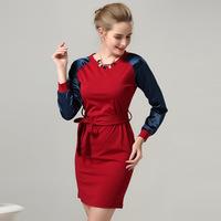 L109 XXXL XXXXL Plus Size European Station New 2014 Winter Patchwrok Red Sashes Branding Sexy Elegant Women Female Lady Dress