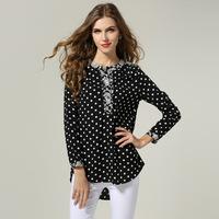 175X M-5XL Plus Size New Autumn 2014 Fashion Retro European Style Chiffon Dots Long Sleeve Woman Blouse Shirts camisas femininas