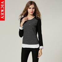 M-5XL Plus Size 2014 New Autumn Fashion European Style Wool Chiffon Patchwork Women's Shirt Blouse Blusas Femininas V841