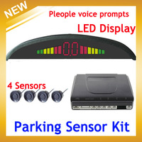 People voice prompts,Car LED Backlight Display Parking Sensor Kit Multi-Color 4 Sensors 22mm Reverse Backup Radar, Free Shipping