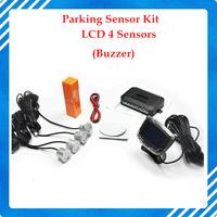2014  Backup Radar Monitor System 12V 7 Colors 4 Sensors 22mm Buzzer LCD Parking Sensor Kit Display Car Reverse Free Shipping