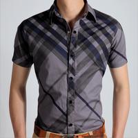 2014 men's shirts cotton male clothing famous brand men shirt slim fit short sleeve casual summer wear camisa social