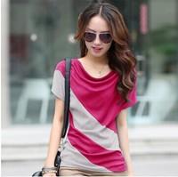 Women's summer 2014 women's loose t-shirt short-sleeve t-shirt female top plus size patchwork S-XXXL