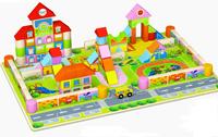 2014 New Mingta toy bricks kindergarten wooden building blocks baby intellectual enlightenment children Toys 128 Pcs/lots
