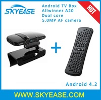 Android TV Box With 5.0MP Camera Allwinner A20 Dual Core Smart TV BOX 4.2.2 HD22 WIFI Bluetooth DLNA HDMI fly mouse