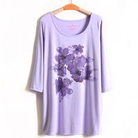 3Color 4XL-8XL Casual Women Beading Floral Print Blouse Tee Top T-shirt Plus Big Size Oversize 6XL XXXXXL XXXXXXL 2014 Summer