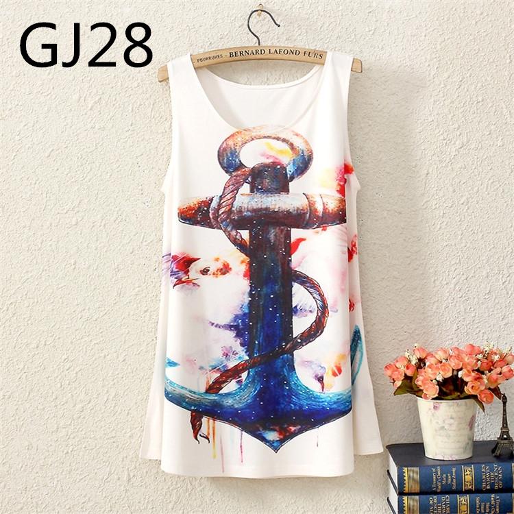 2014 novo verão sem mangas marinha do vento estrela na seção longa colocar em uma grande das mulheres camiseta T blusa Vest regatas(China (Mainland))