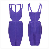 High Quality New Arrival Purple Strapless Bandage Dress Evening Party Bodycon Dress