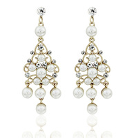 women's pearl drop earrings  18k gold plated crystal jewelry for lady   EF-002