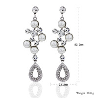 women's long crystal earrings water drop earrings  pearl jewelry for lady party    EF-004