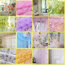 Butterfly Curtain yarn rustic romantic curtain window screening customize/ Fabric balcony Yarn shower Room Voile W100*H270(China (Mainland))