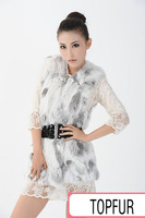 Free shipping New Sprint Female Real Rabbit fur vest Women Genuine Natural Rex Rabbit Fur Coat Spring V Neck FP225