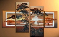 free shipping 100% handmade Africa scenery oil painting on canvas wall art  picture for living room with framed D/025