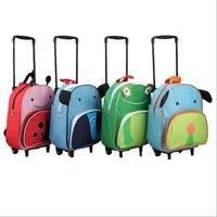 6 Colors Children School Bags With Wheeles,Cute Animal Cartoon Kids Backpacks Trolley Bag,Canvas Satchel Baby Toddler Bag