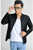 New 2014 Men's Jackets Plus Size Plaid Leather Jacket  Men'S Slim Type Outerwear coat Men'S Large Clothing M-5XL XG-74