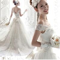 2014 Free shipping Sweet Bride Royal wedding dress, women's Deep V-neck  the princess bride lace wedding dresses  XS-XXXL