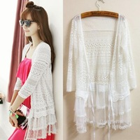 Sun Protection Clothing Women Three Quarter-sleeve Openwork Lace Cardigans Thin Knitted Sweater 2014 New Arrival Free Shipping
