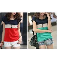 2014 new summer Korean women chiffon blouse Size Women t-shirt short-sleeved shirt mixed colors mixed colors free shipping