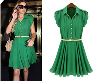 2014New dress Women's New High-quality European and American Flounced Dress Lapel Single-breasted Tunic Pleated Dress Plus Size
