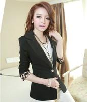 2014 New Fashion Women Blazer Leopard Long Sleeve Ladies Casual Jackets Coat Suit Brand Blazer Blaser Feminino OL Outwear