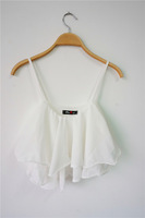 On Sale !! 2014 new summer women sexy candy color CHEAP camisole ruffles mini chiffon crop top tank tops girls fashion clothing