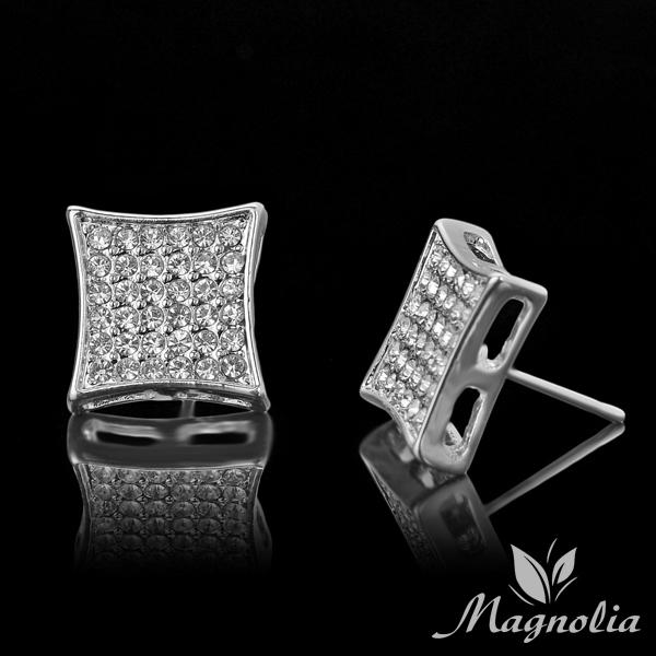 2015 Popular Hip Hop Bling Crystal Stud Earring Brand Geometric Platinum Plated Stud Earrings Men Dress Free Shipping 13MM M06(China (Mainland))