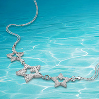 Fashion trendy 925 sterling silver rope chain pendant necklace for lady ,star pendant necklace retail