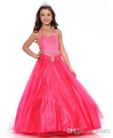 Newest High Quality Elegant Hot Pink  Lovely Organza Flower Girl Dress Girls Pageant Dresses Party Prom Gowns Custom Made Size