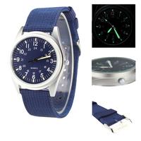 Orkina Fashion Navy Blue Dial Silver Case Fashion Quartz Fabric Strap Mens Wrist Watch | ORK0082