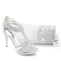 SHOEZY Italian Shoes With Matching Bags Womens Silver Diamante Platform Pumps Prom evening Zip High Heels t strappy sexy new