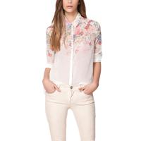 2014 New Sexy Flower Women Chiffon Blouse Floral Print Turn-down Collar Button Shirt Tops White Long Sleeve